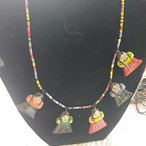 Jewelry - Native American Hand Painted Hand Beaded Necklace